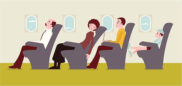 Economy class passengers on an airplane Economy class passengers on the airplane: The man in the yellow sweater getting frustrated with the woman tilting her seats in front of him, and a child kicking his seat in the back. passenger stock illustrations