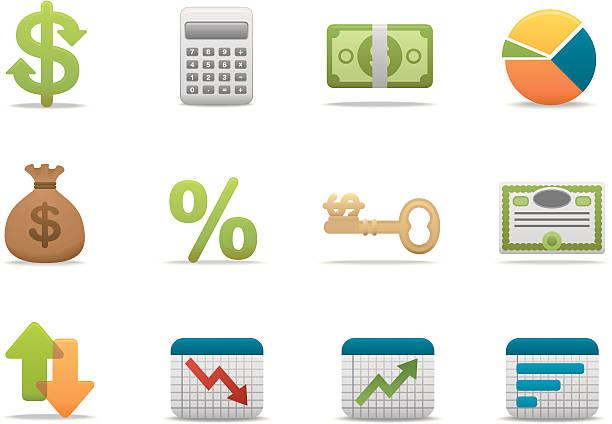 stockillustraties, clipart, cartoons en iconen met economy & finance icons | premium matte series - aandelen
