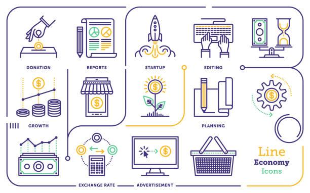 ilustraciones, imágenes clip art, dibujos animados e iconos de stock de conjunto de iconos de la línea economía - infografías de precios