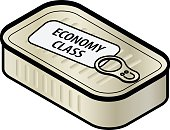 "Economy class travel concept: A plain unlabeled sardine tin with a pull tab and a plain ""economy class"" travel.."