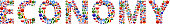 Economy World Flags Vector Buttons. The word is composed of various flag buttons. It represents globalization and cooperation between nations. The flag buttons fill in the letters and form a seamless pattern. Flags include United States, Great Britain, Germany, Canada, European Union, Russia, Switzerland, Israel, China and many more.