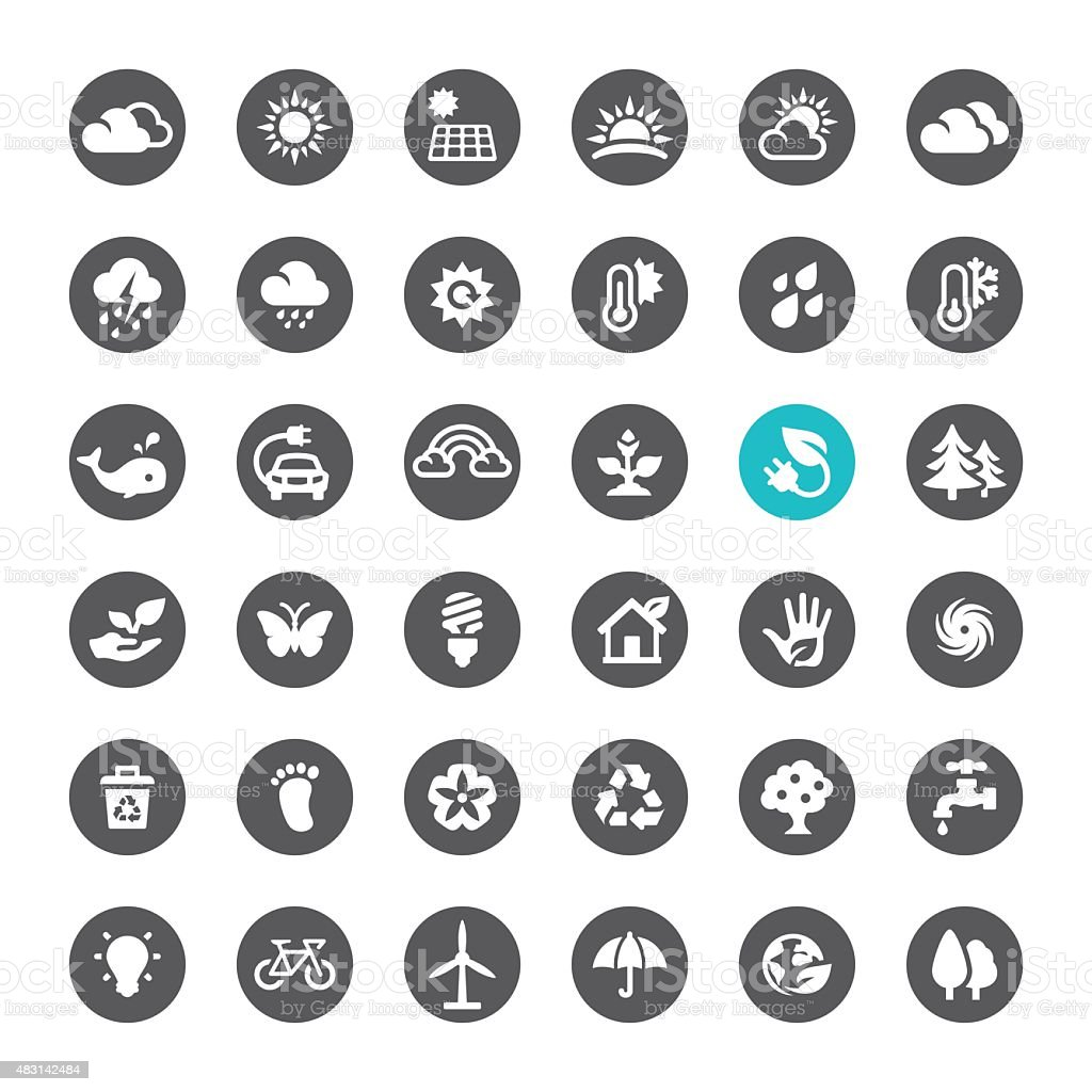 Ecosystem and Technology vector icons vector art illustration