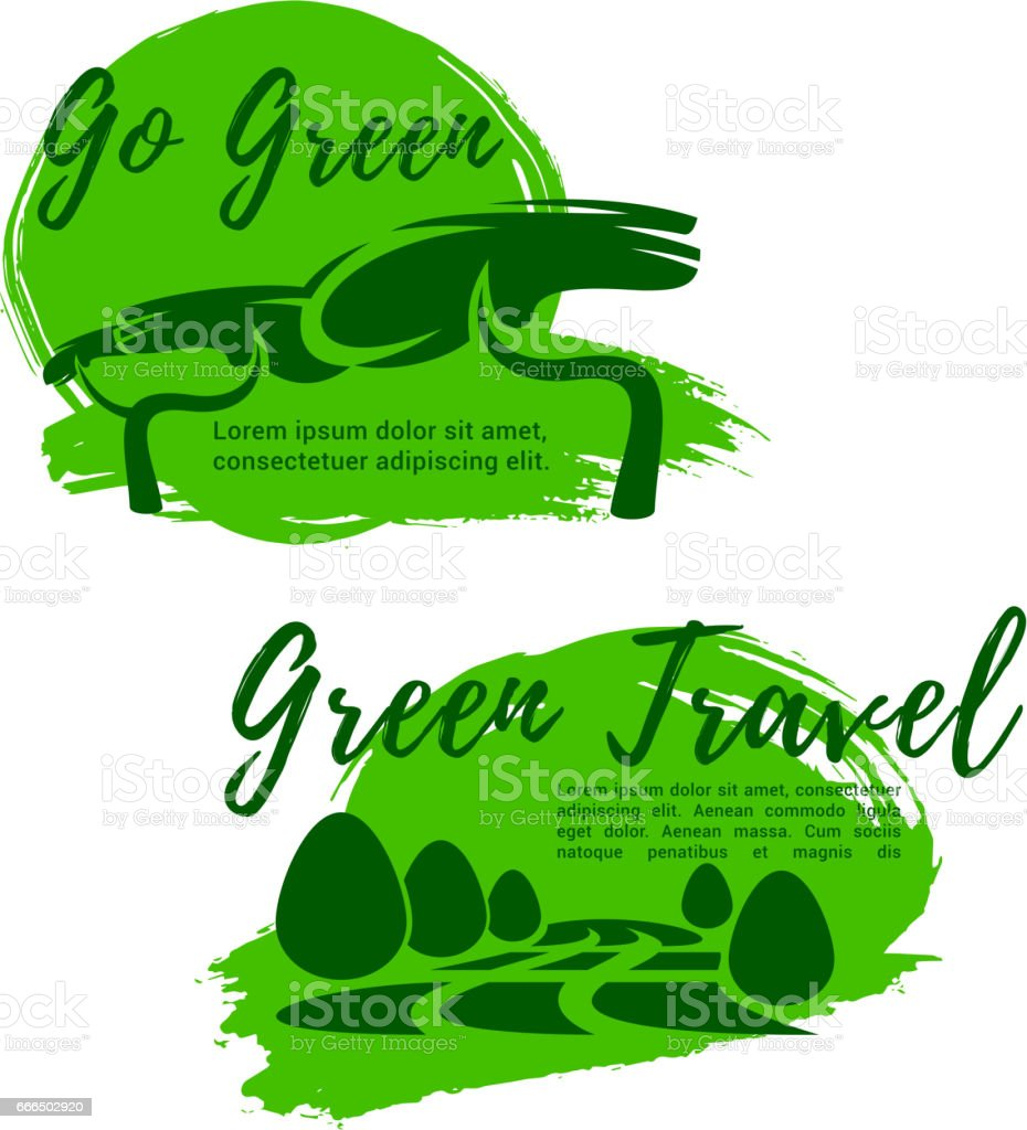 Ecotourism And Go Green Symbol For Travel Design Stock Vector Art