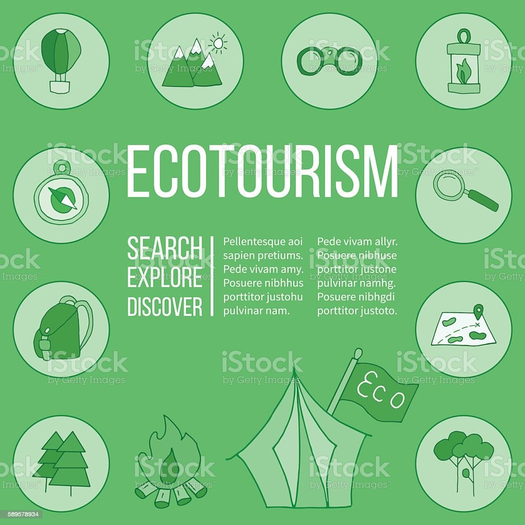 Ecotourism flyer, poster. Vector illustration ベクターアートイラスト