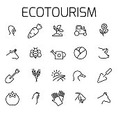 Ecotourism related vector icon set. Well-crafted sign in thin line style with editable stroke. Vector symbols isolated on a white background. Simple pictograms.