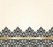Ecru black and gold vintage pattern invitation background