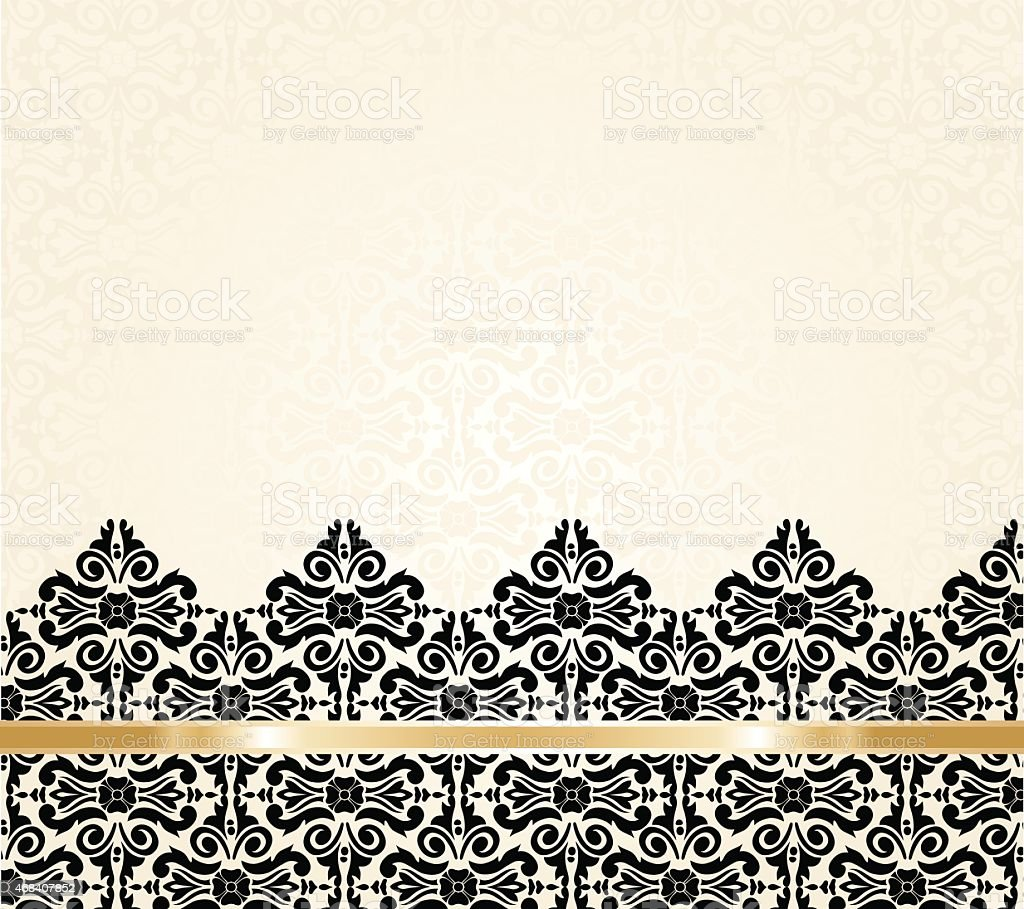 Ecru black and gold vintage invitation background vector art illustration