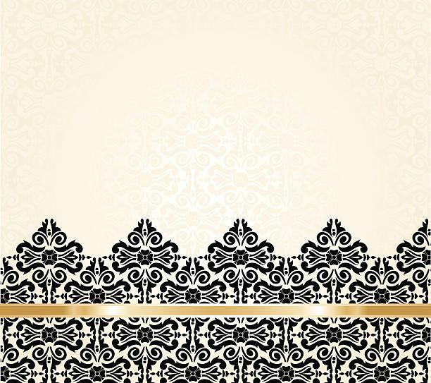 Ecru black and gold vintage invitation background Ecru black and gold vintage pattern invitation background african american valentine stock illustrations