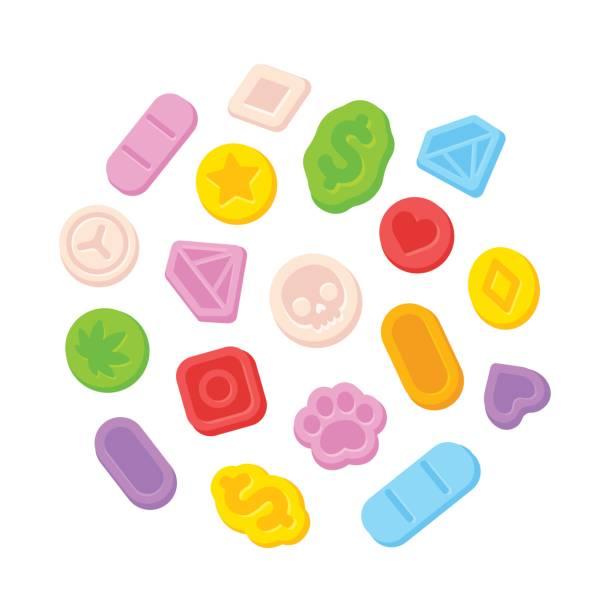 bildbanksillustrationer, clip art samt tecknat material och ikoner med ecstasy mdma piller - amphetamine pills