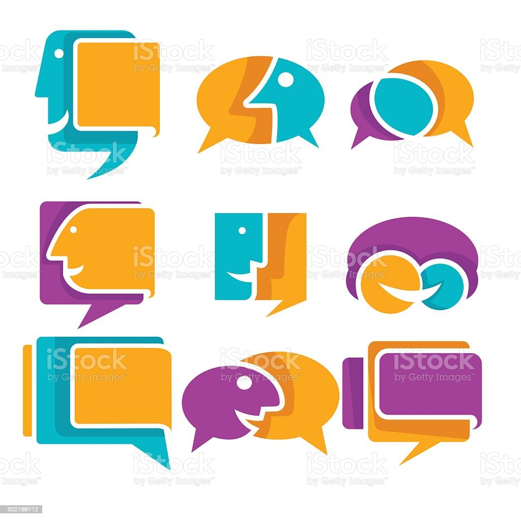 Ector collection of talking speaking and communication icons signs ector collection of talking speaking and communication icons signs and symbols royalty free biocorpaavc Gallery