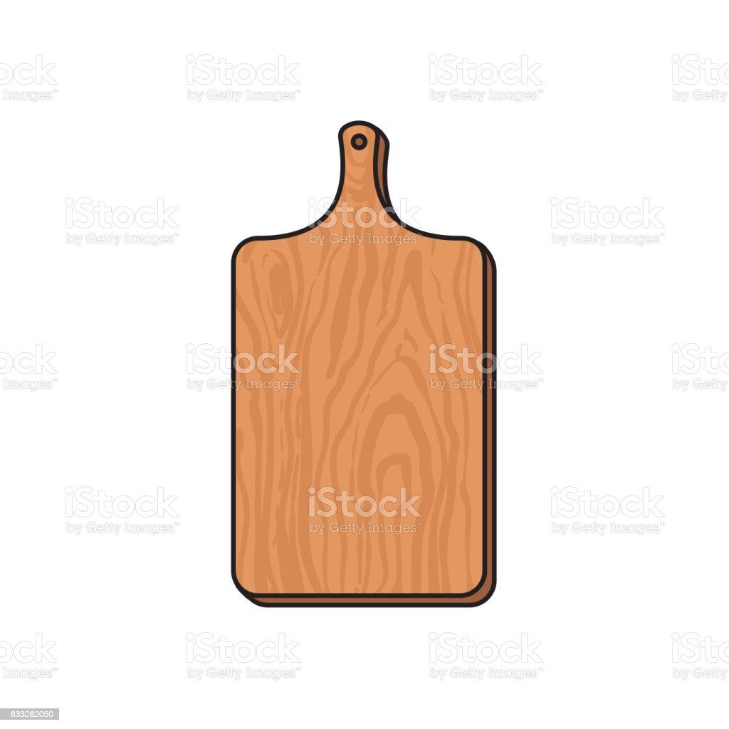 ector wooden sketch cartoon cutting board isolated vector art illustration