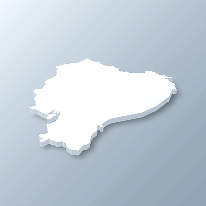 Ecuador 3D Map on gray background