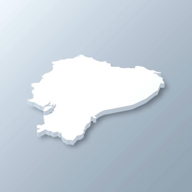 Ecuador 3D Map on gray background vector art illustration