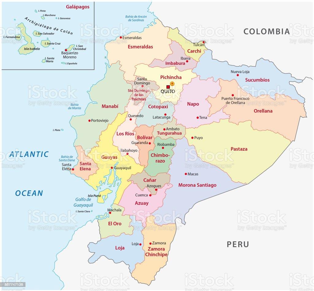 Ecuador Administrative And Political Map Stock Vector Art More