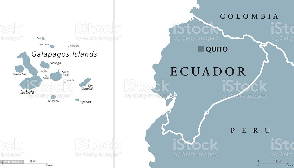 Ecuador and Galapagos Islands Political Map vector art illustration