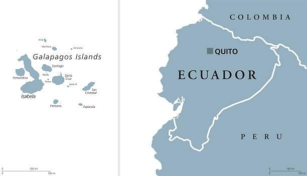 Ecuador and Galapagos Islands Political Map vector art illustration