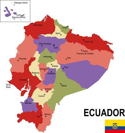 Ecuador colorful flat map with flag