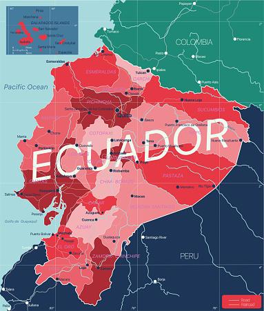 Ecuador country detailed editable map