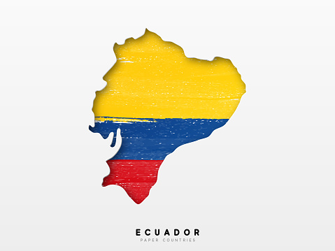 Ecuador detailed map with flag of country. Painted in watercolor paint colors in the national flag