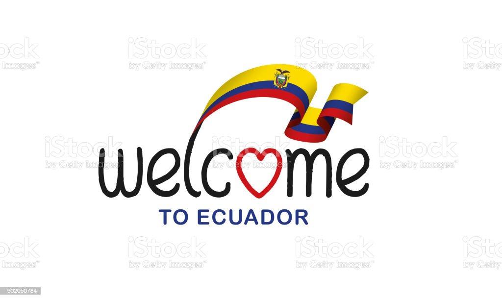 Ecuador flag background vector art illustration