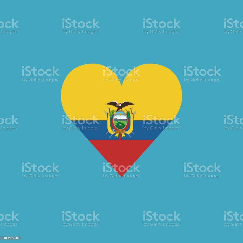 Ícone de bandeira do Equador em forma de coração no projeto liso - ilustração de arte em vetor