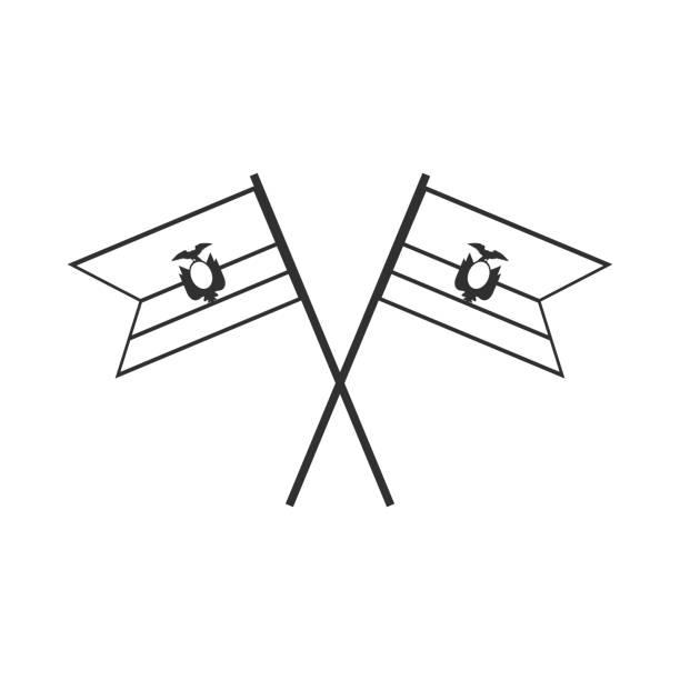 黒のアウトライン フラット デザインのエクアドル フラグ アイコン ベクターアートイラスト