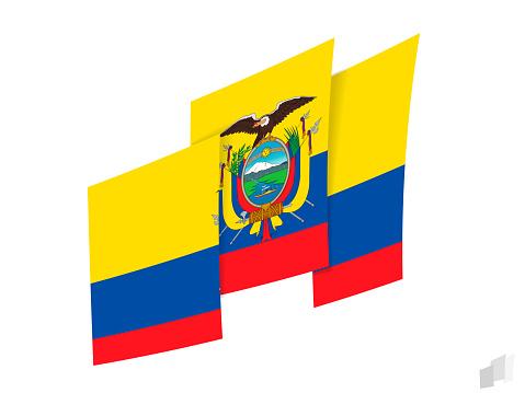 Ecuador flag in an abstract ripped design. Modern design of the Ecuador flag.
