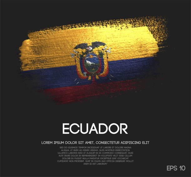ilustraciones, imágenes clip art, dibujos animados e iconos de stock de bandera de ecuador de brillo brillo brocha pintura vectorial - bandera de ecuador