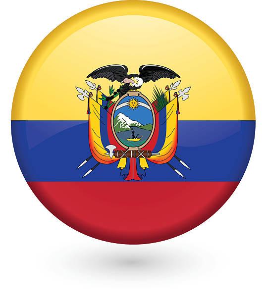 ilustraciones, imágenes clip art, dibujos animados e iconos de stock de bandera ecuatoriana vector botón - bandera de ecuador