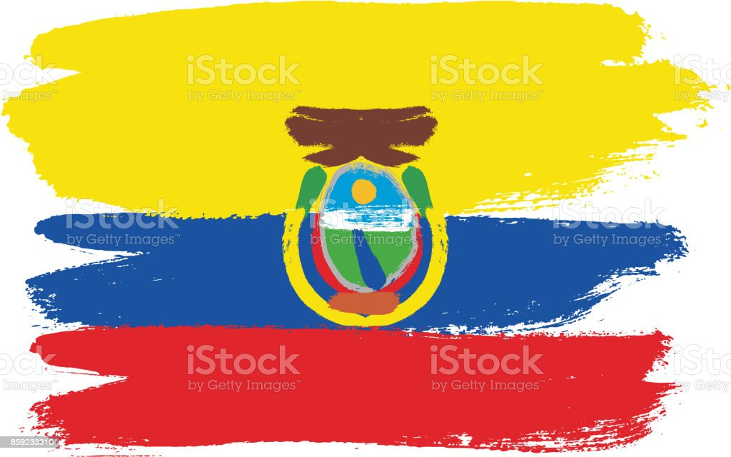 Ecuador Flag Vector Hand Painted with Rounded Brush vector art illustration