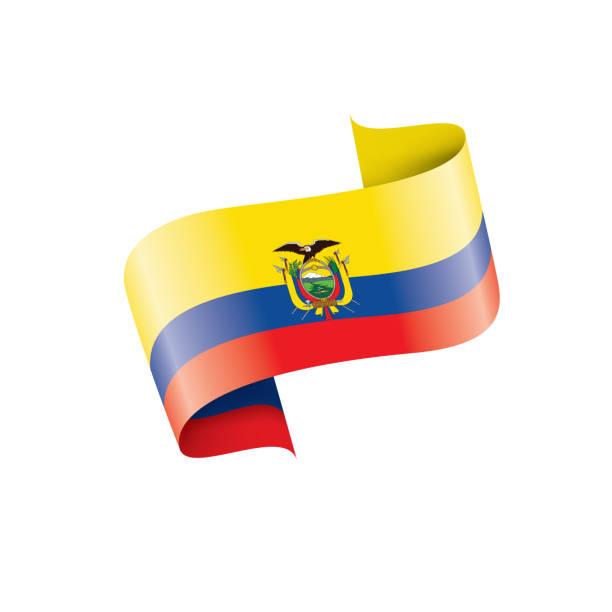 ilustraciones, imágenes clip art, dibujos animados e iconos de stock de bandera ecuador vector ilustración sobre un fondo blanco - bandera de ecuador