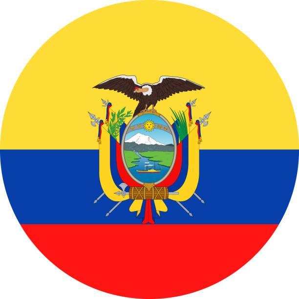 ilustraciones, imágenes clip art, dibujos animados e iconos de stock de ecuador bandera vector redondo plano icono - bandera de ecuador
