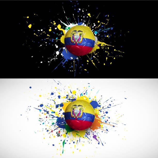 ilustraciones, imágenes clip art, dibujos animados e iconos de stock de bandera ecuatoriana con pelota de fútbol en fondo colorido dash - bandera de ecuador