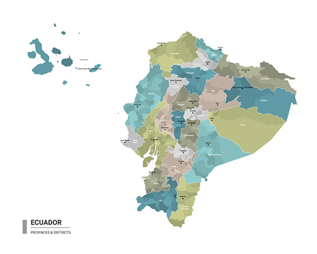 Ecuador higt detailed map with subdivisions. Administrative map of Ecuador with districts and cities name, colored by states and administrative districts. Vector illustration.