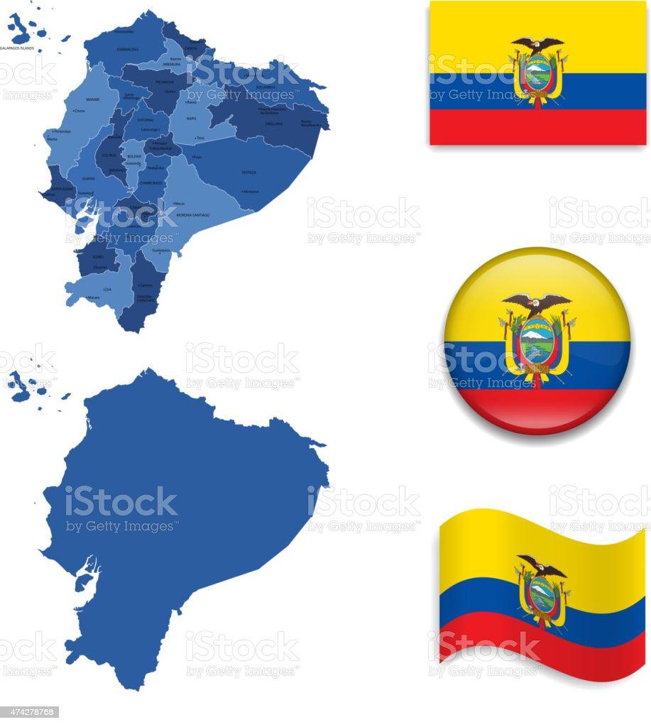 O mapa e a bandeira do Equador coleção - ilustração de arte em vetor