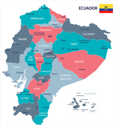 Ecuador - map and flag - Detailed Vector Illustration