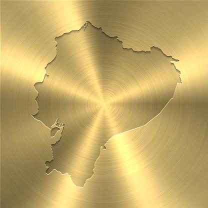 Ecuador map on gold background - Circular brushed metal texture