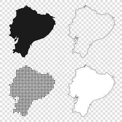 Ecuador maps for design - Black, outline, mosaic and white