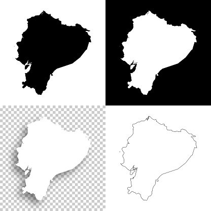 Ecuador maps for design - Blank, white and black backgrounds