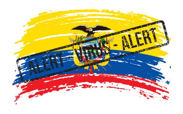 stockillustraties, clipart, cartoons en iconen met de gescheurde vlag van ecuador met een zegel met het virus van de woordenalarm, vector - tears corona