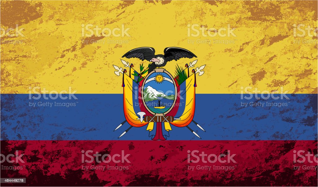 Bandeira do Equador. Fundo Grunge. Vetor ilustração - ilustração de arte em vetor