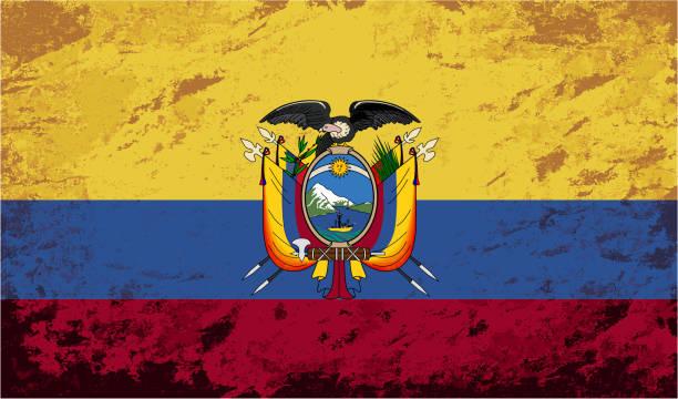 ilustraciones, imágenes clip art, dibujos animados e iconos de stock de bandera ecuatoriana. grunge fondo. ilustración vectorial - bandera de ecuador