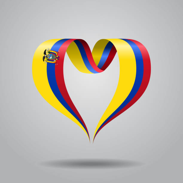 エクアドル国旗ハートのリボン。ベクトルの図。 ベクターアートイラスト