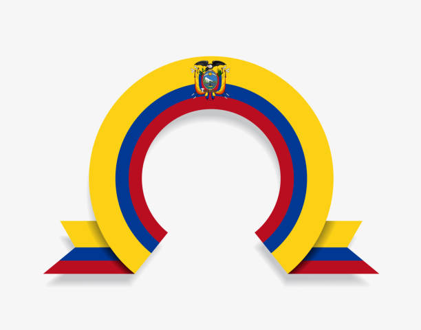 ecuadorian flag rounded abstract background. vector illustration. - ecuador flag stock illustrations
