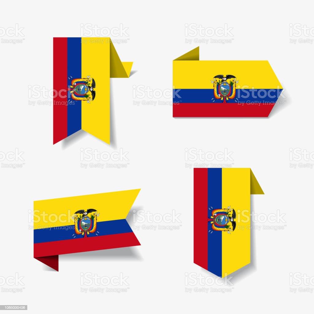 Equatoriano bandeira etiquetas e rótulos. Ilustração em vetor. - ilustração de arte em vetor