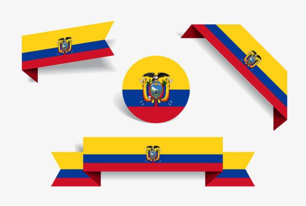 エクアドルの国旗ステッカーとラベル。ベクトルの図。 ベクターアートイラスト