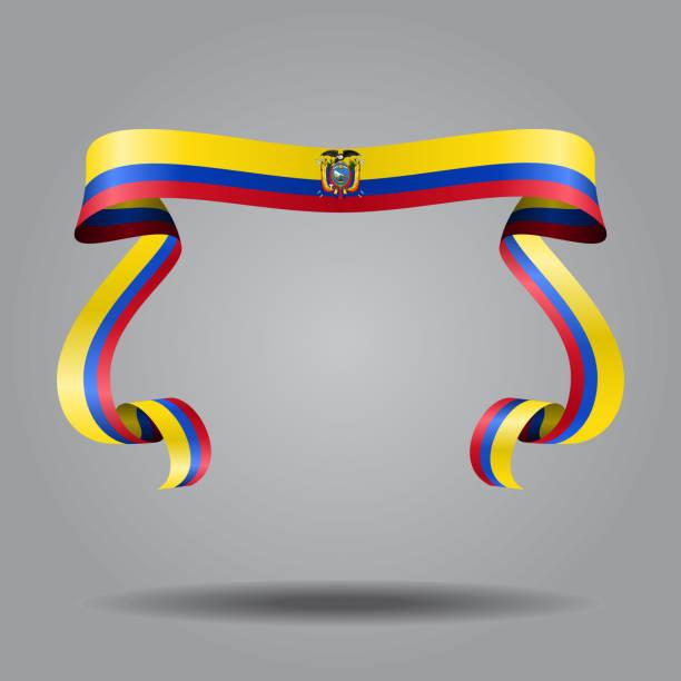 エクアドル国旗波状リボン背景。ベクトルの図。 ベクターアートイラスト