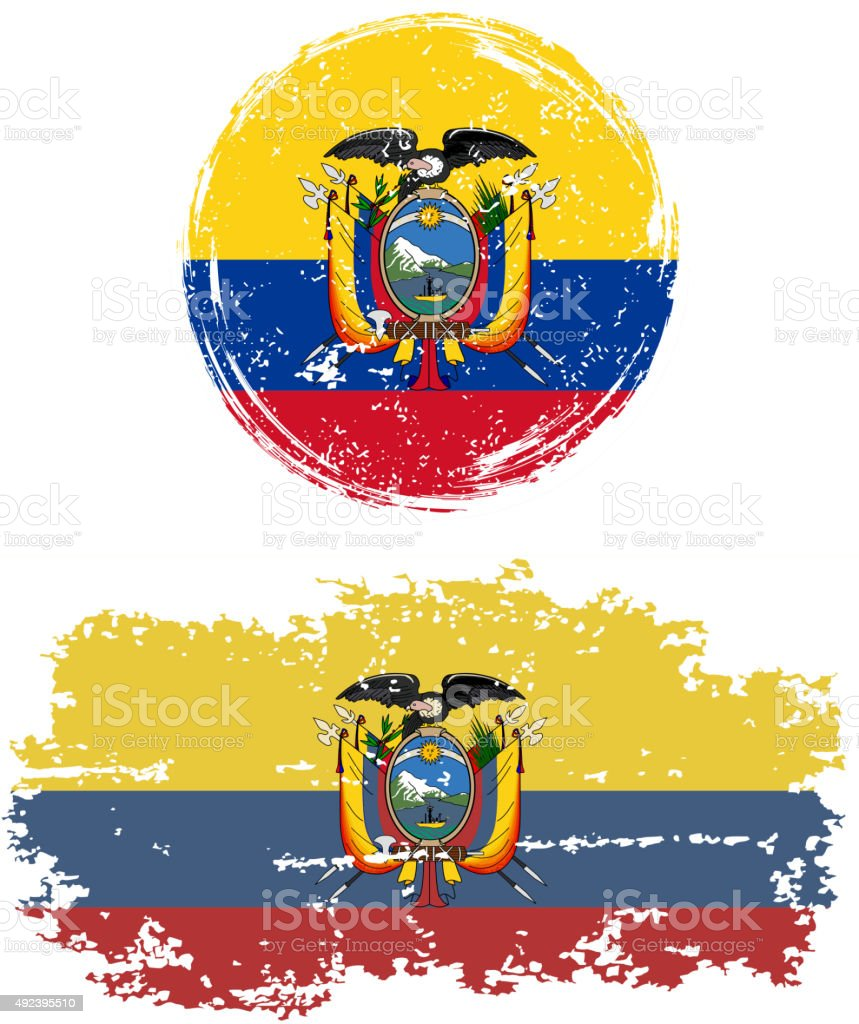 Ecuadorian round and square grunge flags. Vector illustration vector art illustration
