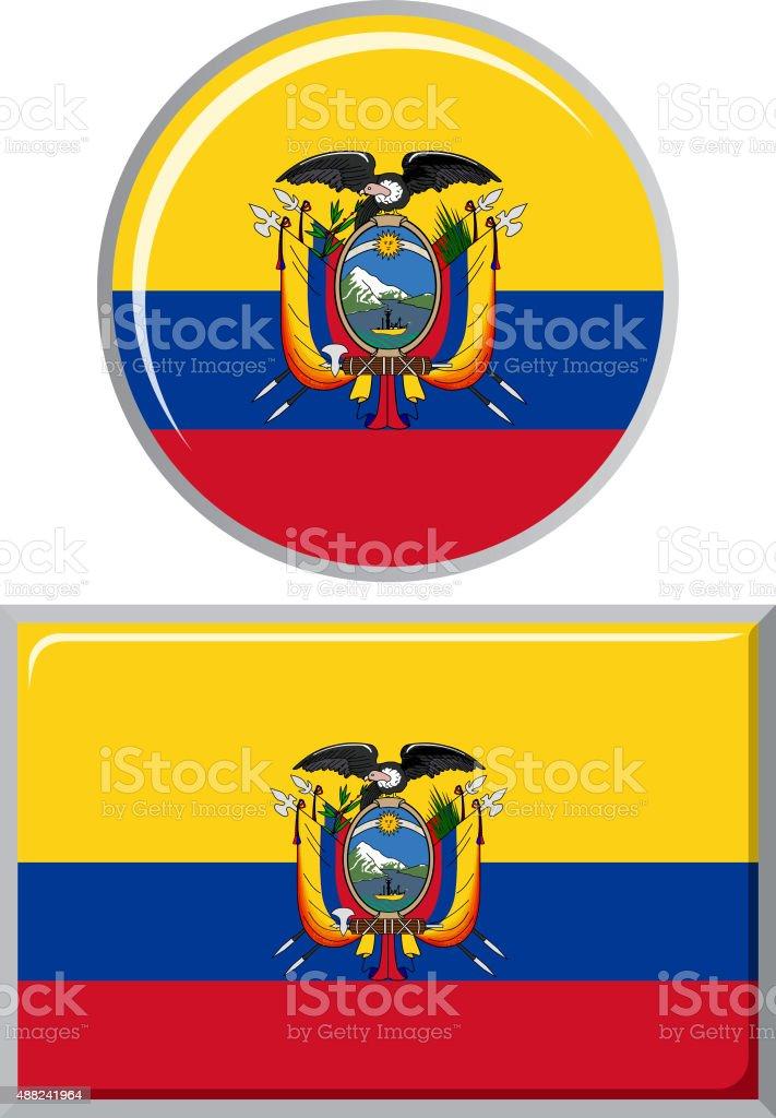 Équatorienne rond et carré icône de drapeau. illustration vectorielle - Illustration vectorielle
