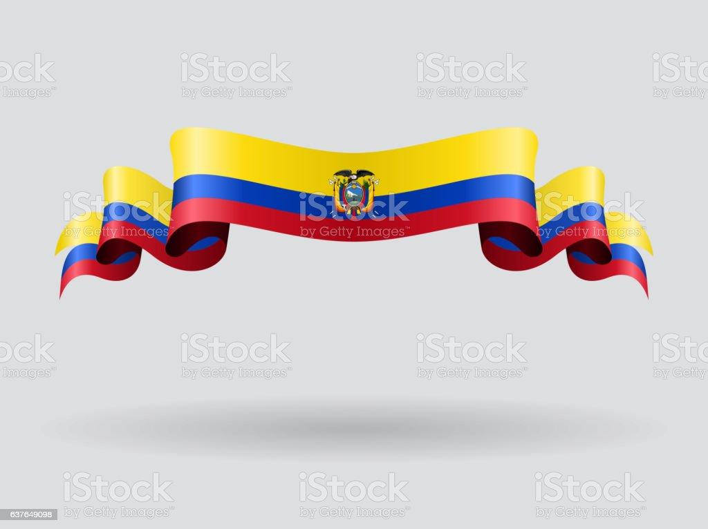 Ecuadorian wavy flag. Vector illustration. vector art illustration